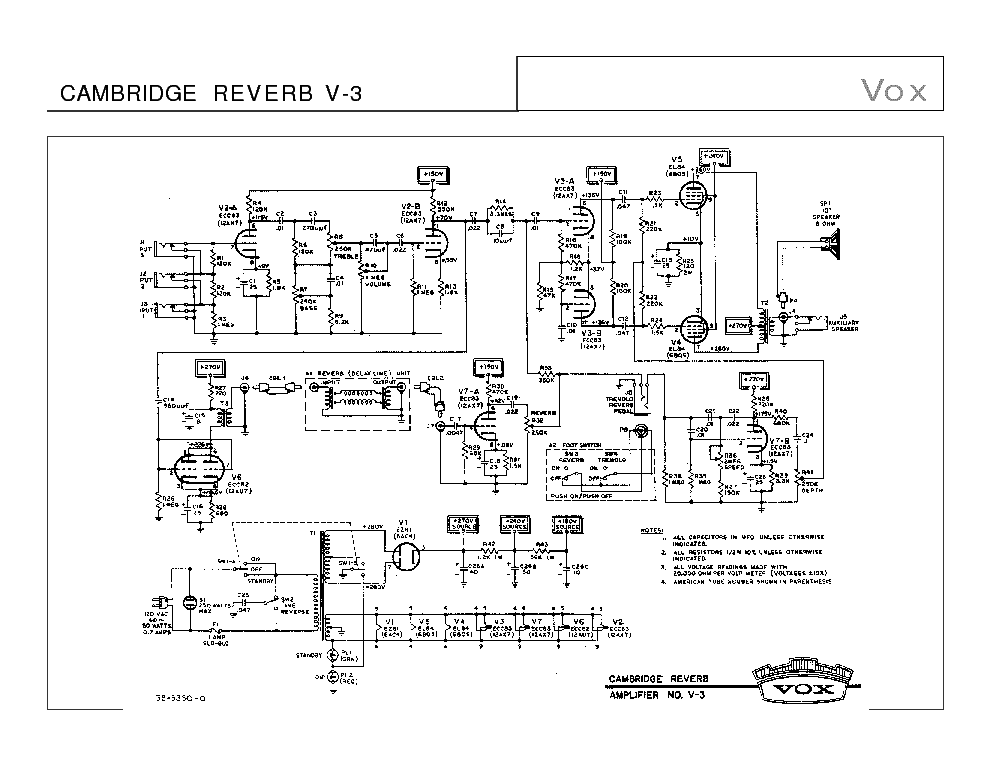 VOX CAMBRIDGE REVERB V-3 SCH Service Manual download
