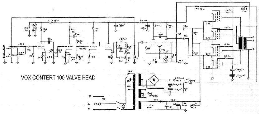 VOX FOUNDATION BASS POWERAMP 50W 1969 SCH Service Manual