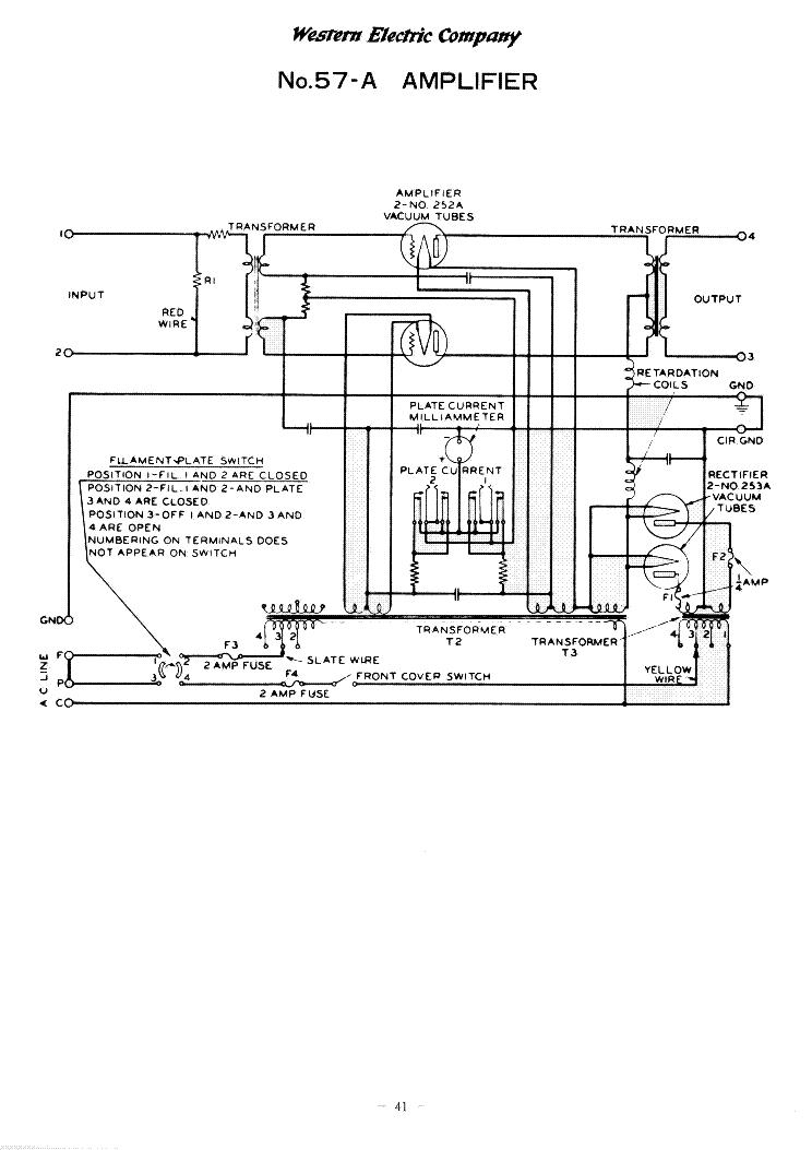 WESTERN ELECTRIC 57-A AMPLIFIER SCH Service Manual