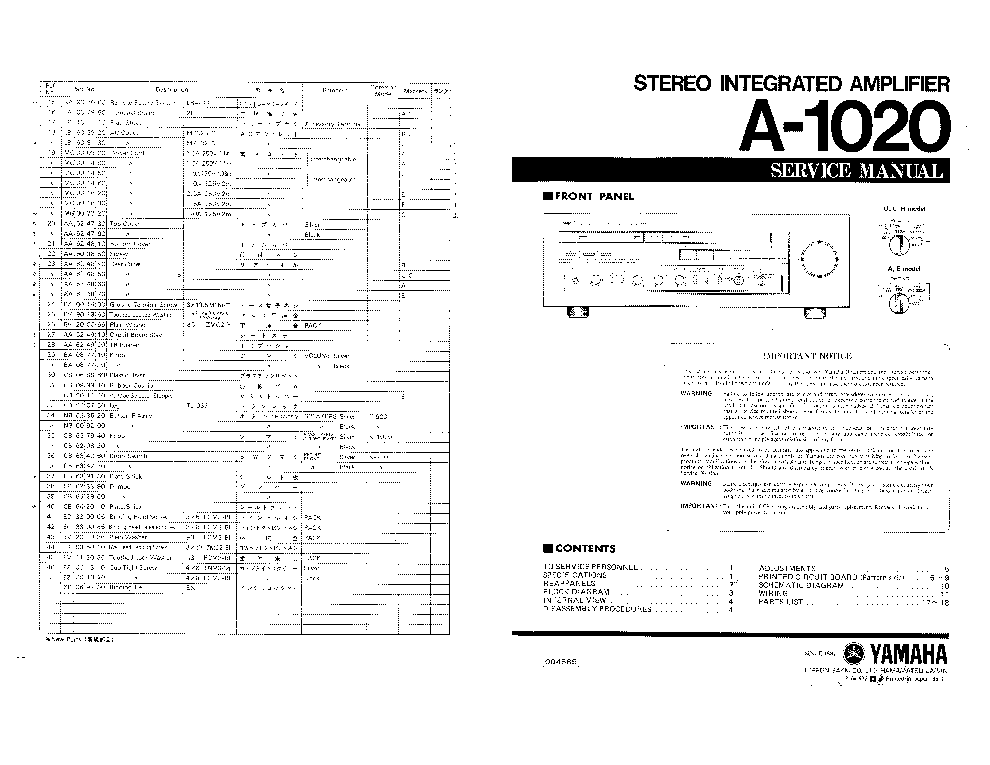 YAMAHA A-1020 SM Service Manual download, schematics