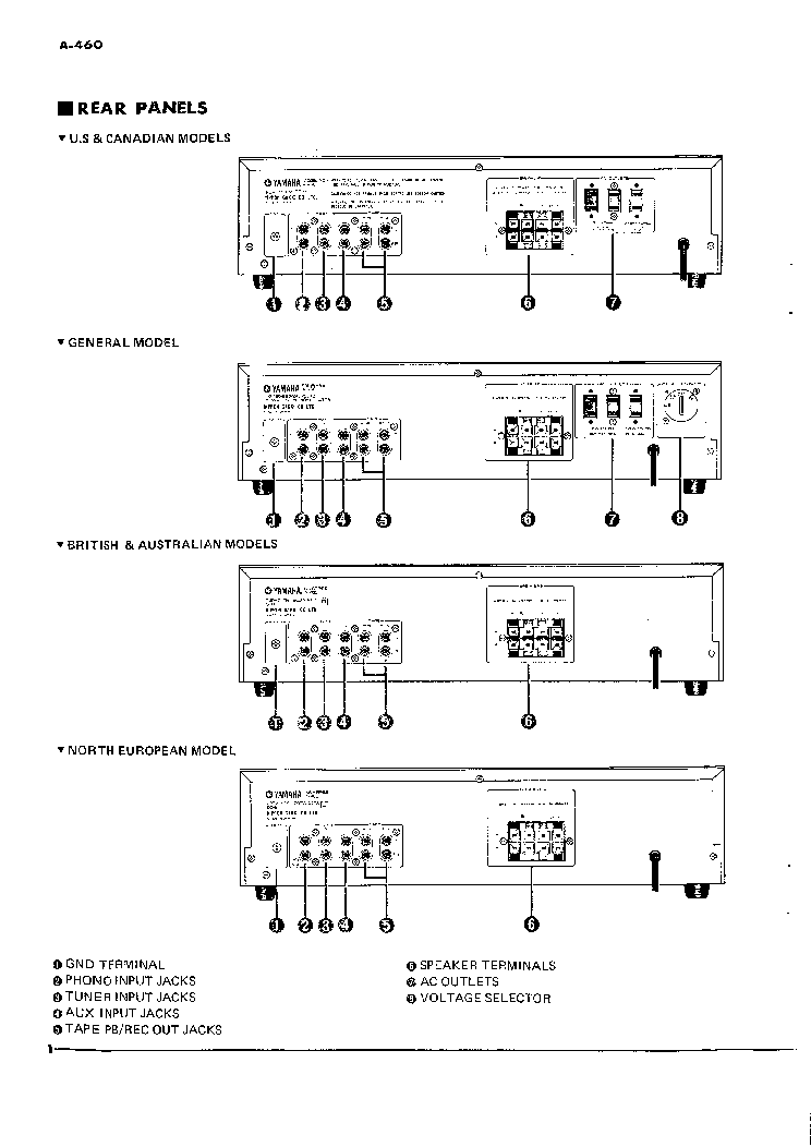 YAMAHA A-460 Service Manual download, schematics, eeprom