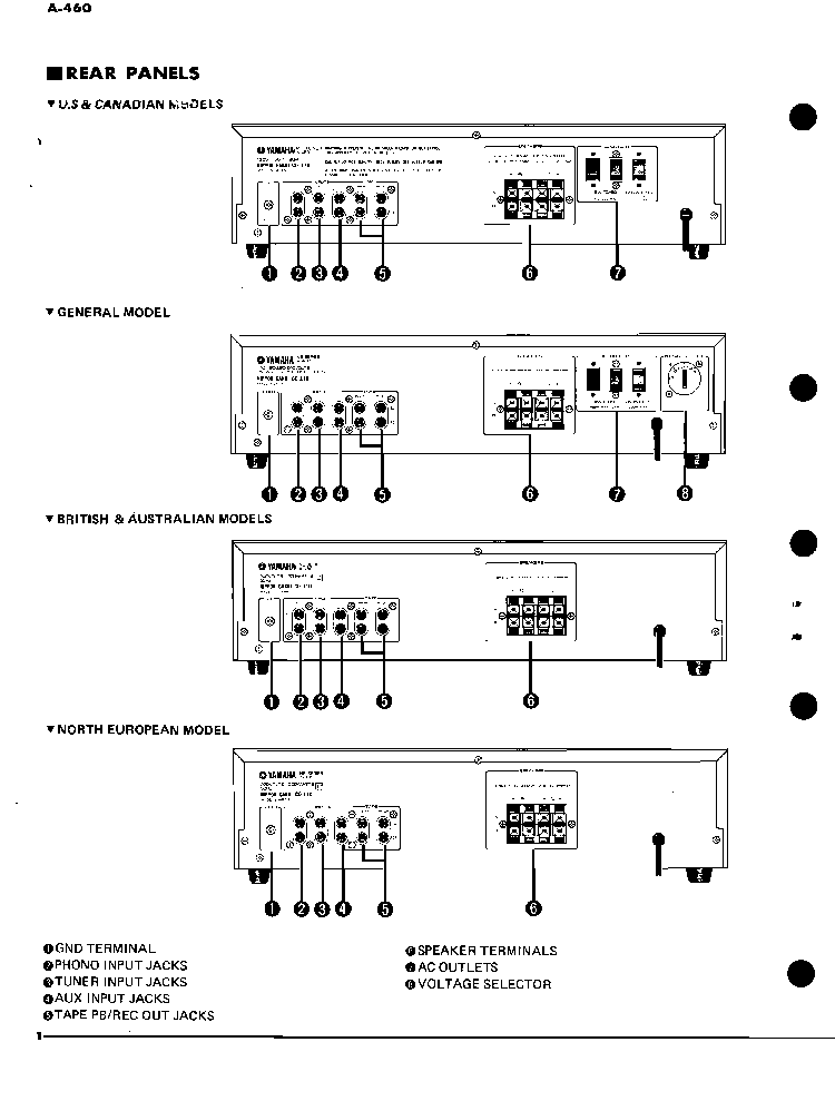 YAMAHA A-460 SM Service Manual download, schematics