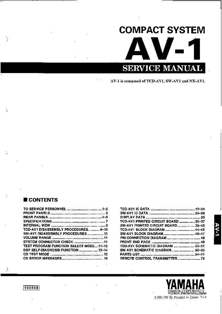 YAMAHA AV-1 SM Service Manual download, schematics, eeprom