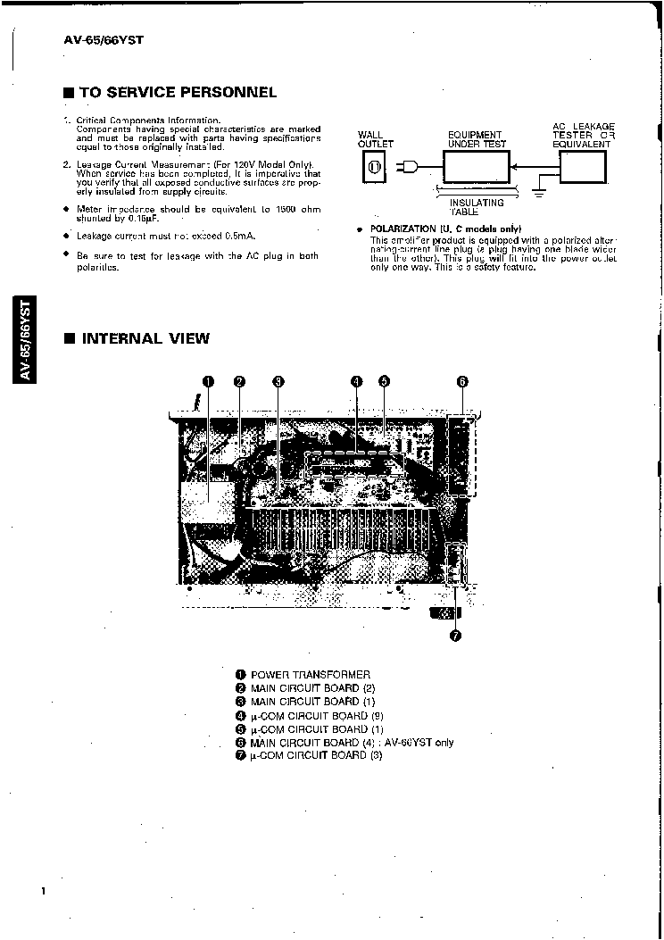 YAMAHA AV-65-66YST Service Manual download, schematics