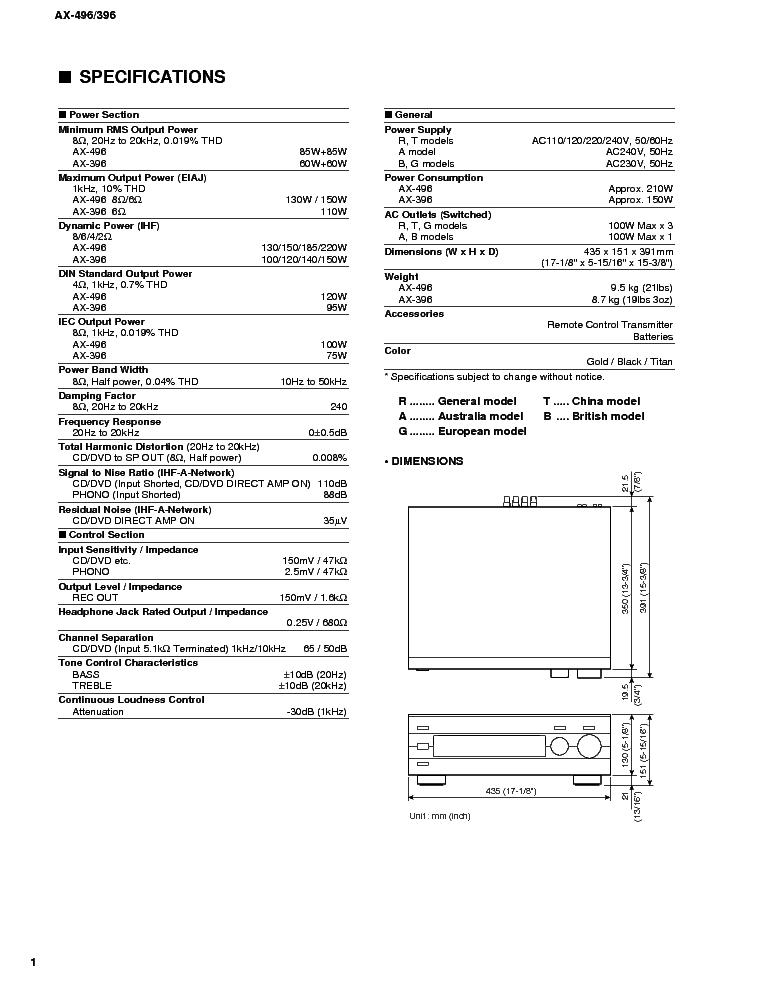 YAMAHA AX-396 496 SM 2 Service Manual download, schematics