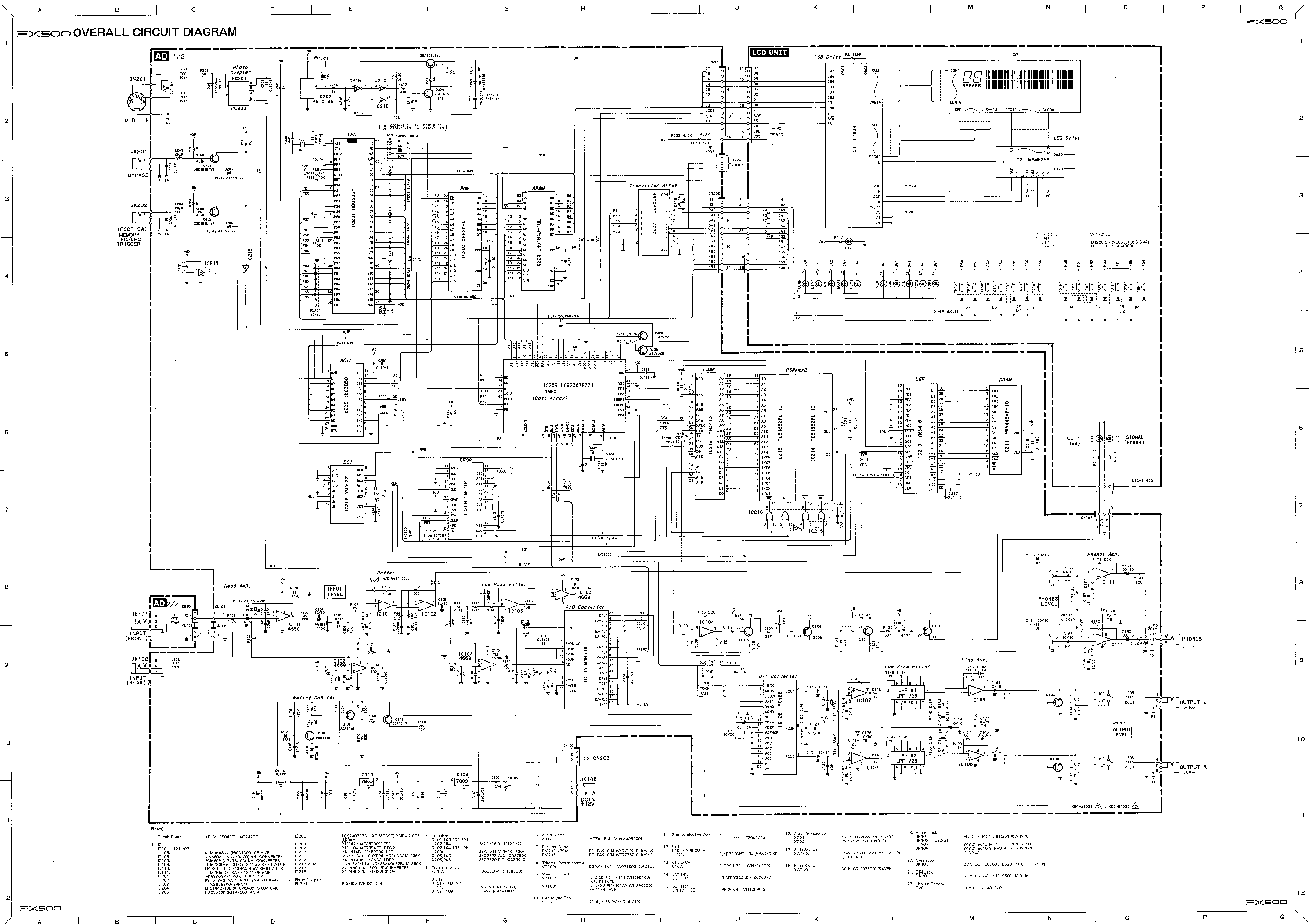 YAMAHA FX500 AUDIO SCH Service Manual download, schematics