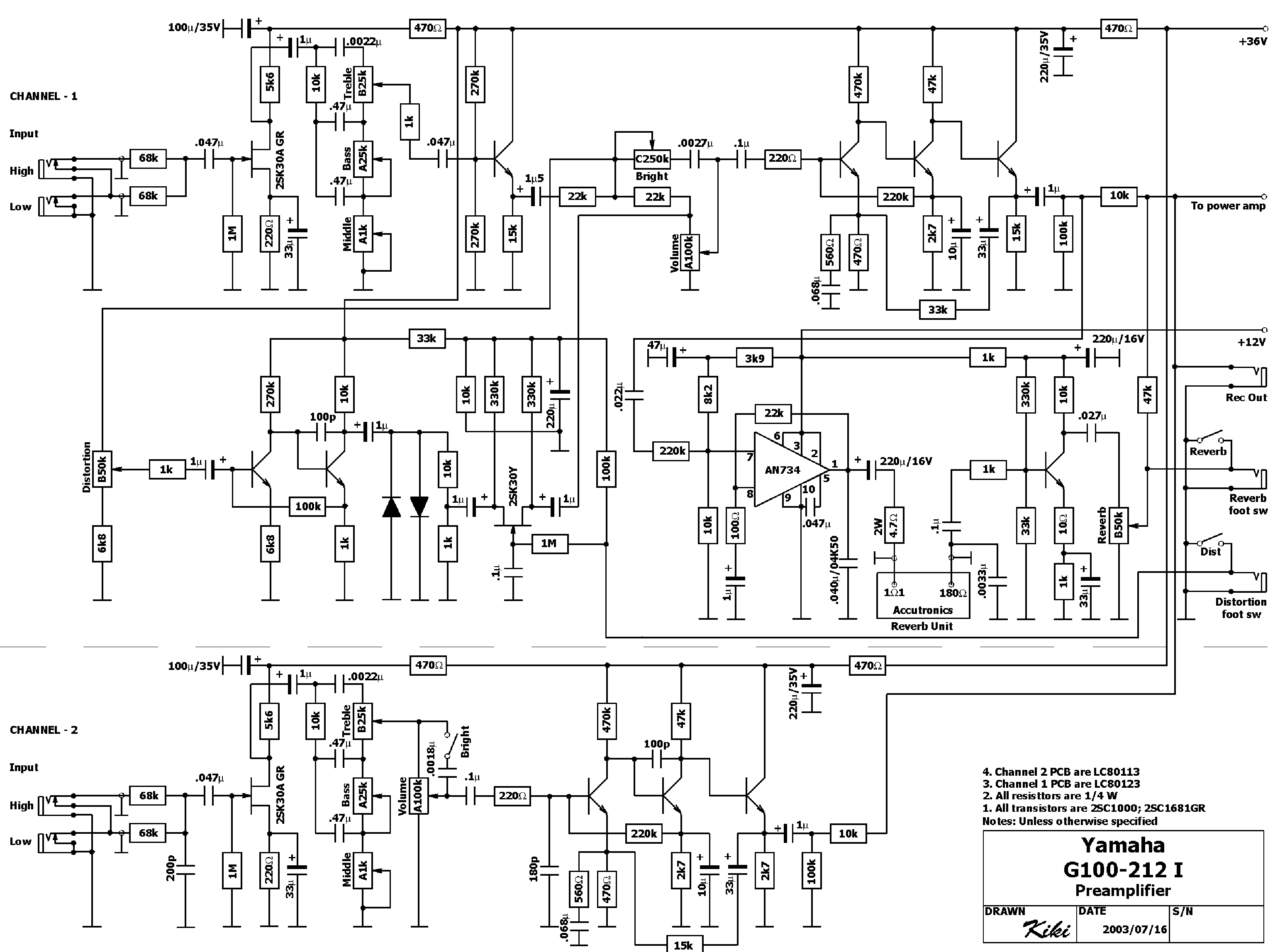 YAMAHA G100 PREAMP SCHEMATIC SCH Service Manual download
