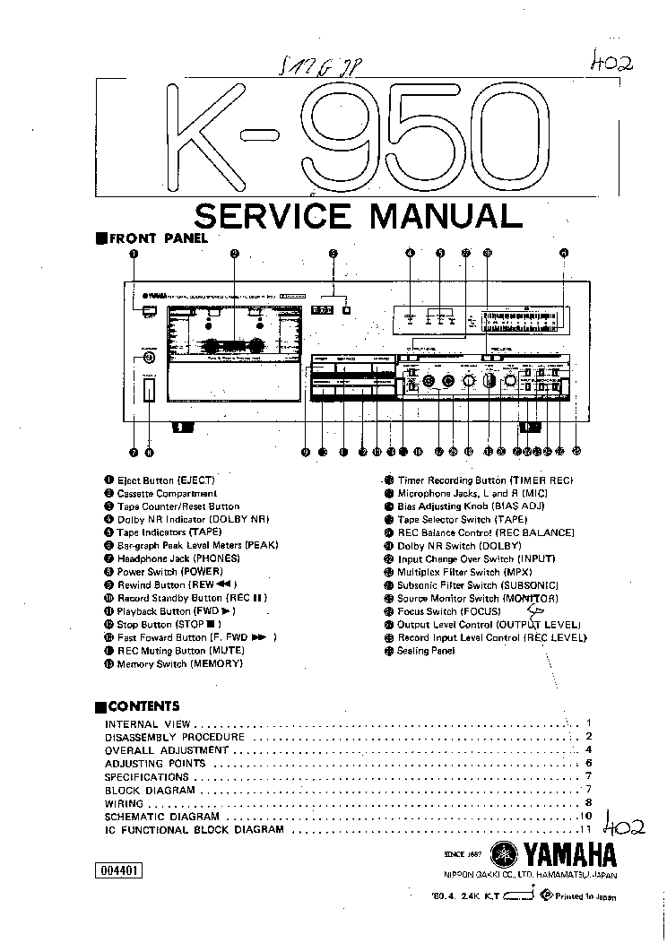 YAMAHA K-950 Service Manual download, schematics, eeprom