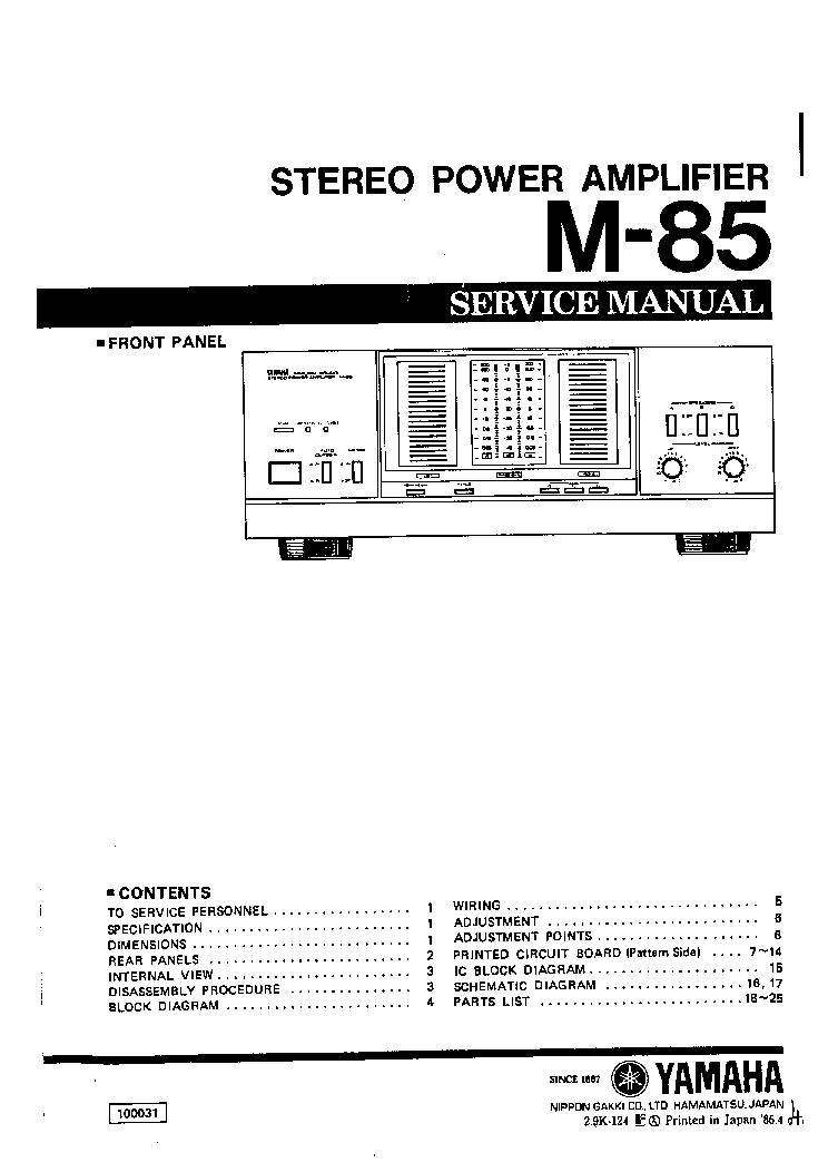 YAMAHA M-85 Service Manual download, schematics, eeprom