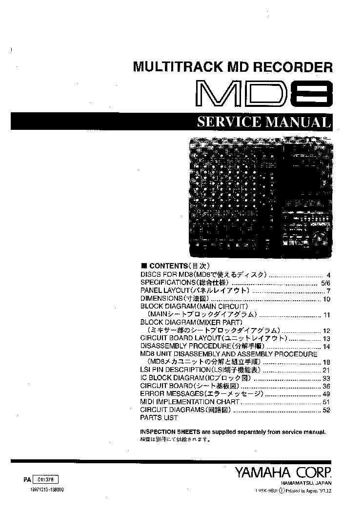 YAMAHA MD8 SM Service Manual download, schematics, eeprom