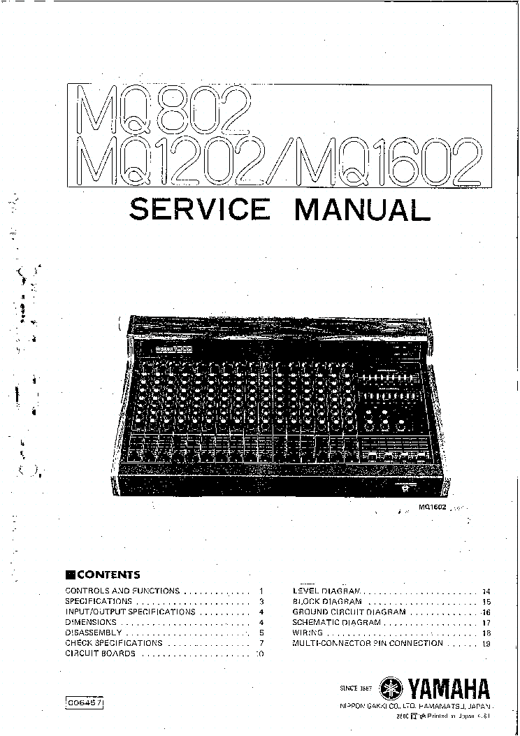 YAMAHA MQ802 MQ1202 MQ1602 Service Manual free download