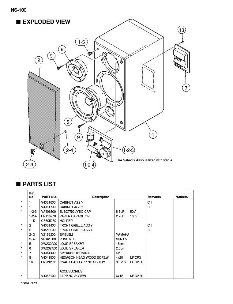 YAMAHA NS-100 Service Manual download, schematics, eeprom