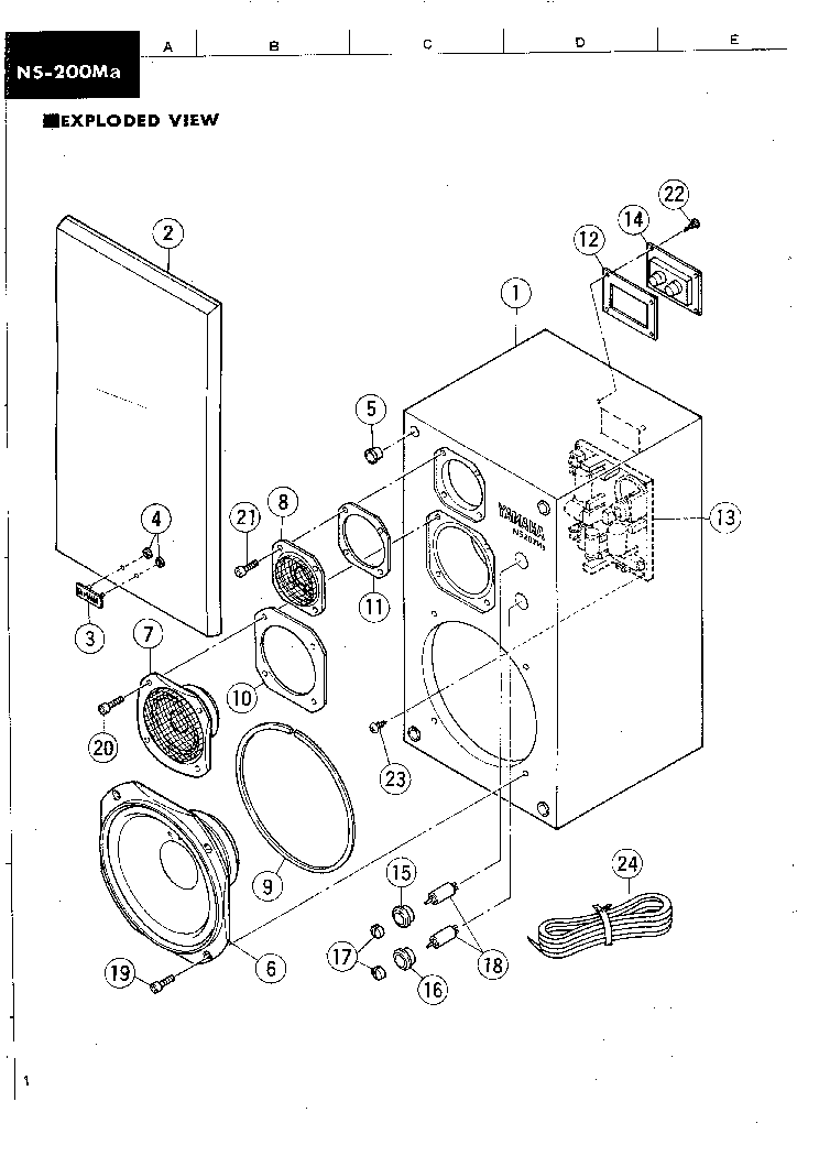 YAMAHA NS-200MA Service Manual download, schematics