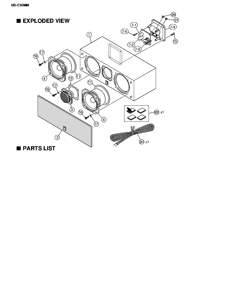 YAMAHA NS-C10MM Service Manual download, schematics