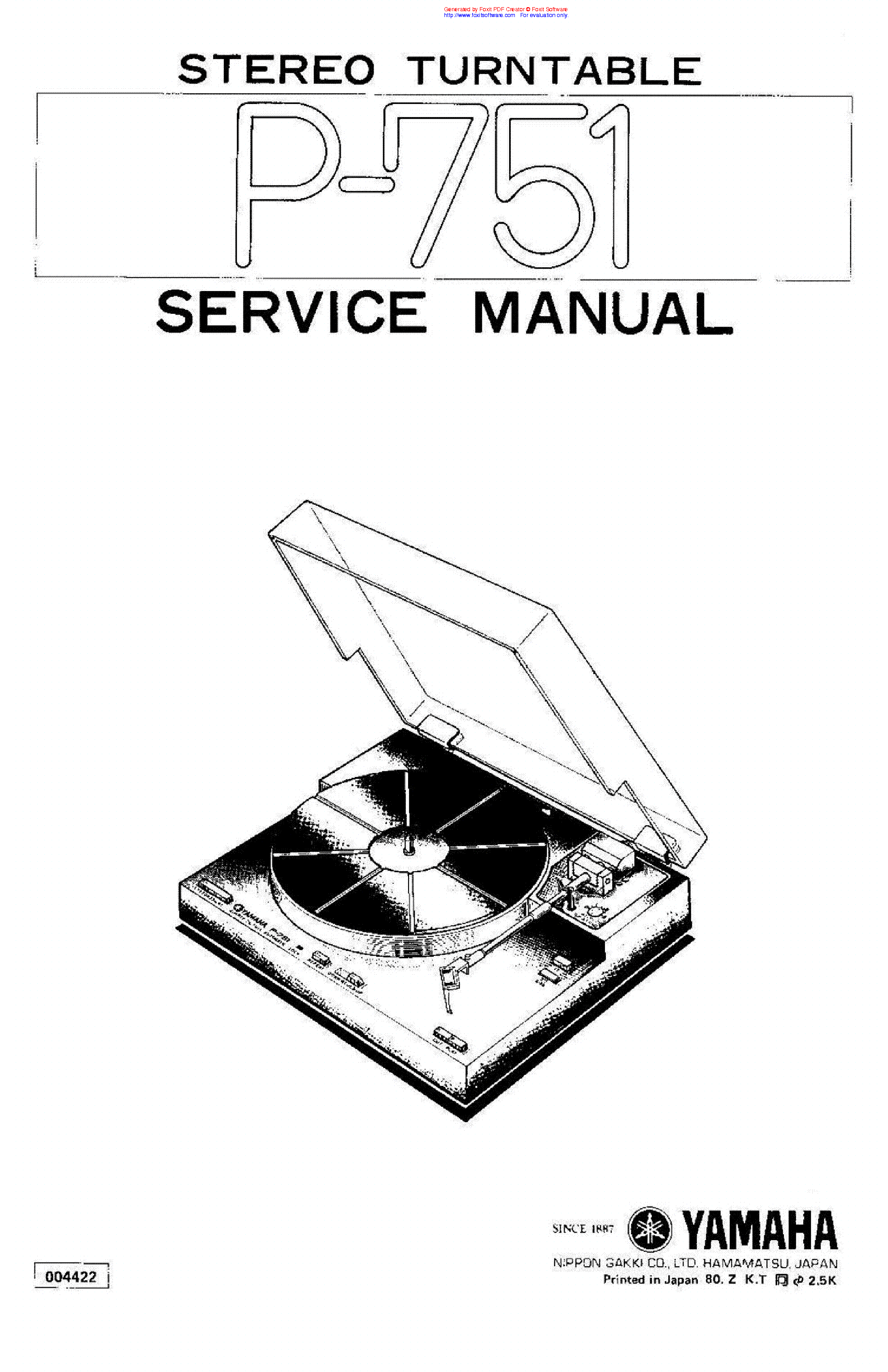 YAMAHA P-751 SM Service Manual download, schematics