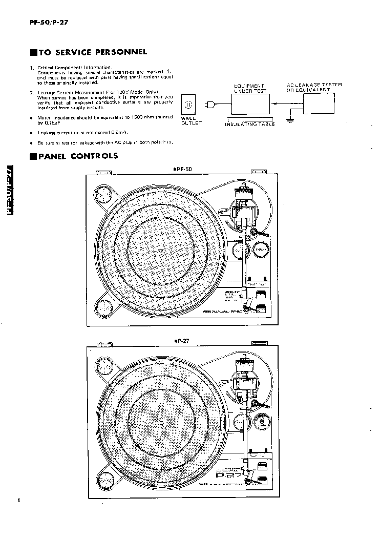 YAMAHA PF-50 P27 STEREO TURNTABLE Service Manual download