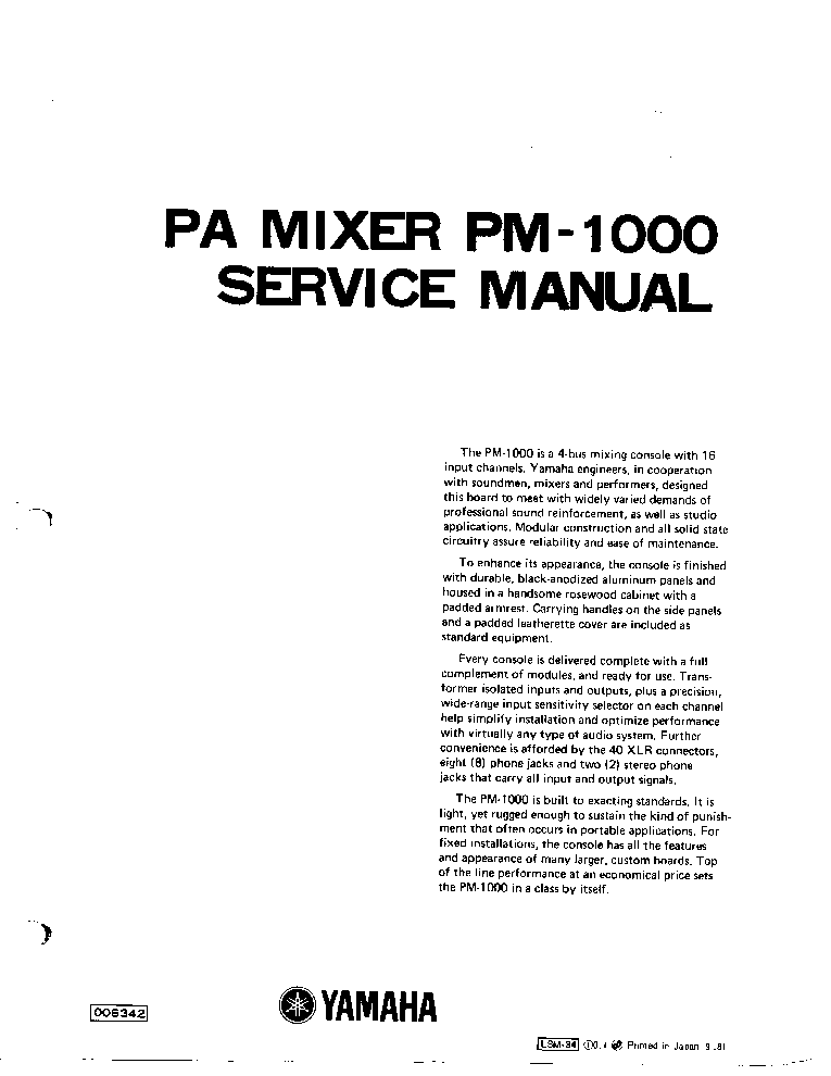 YAMAHA PM-1000 SM Service Manual download, schematics