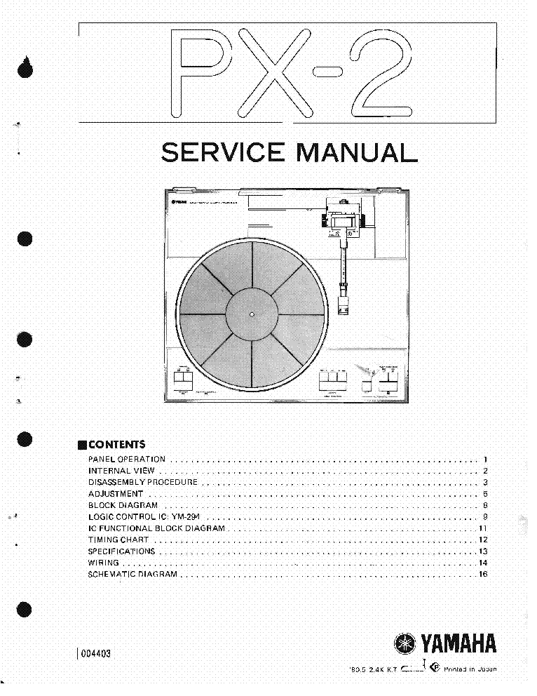 YAMAHA PX-2 SM Service Manual download, schematics, eeprom