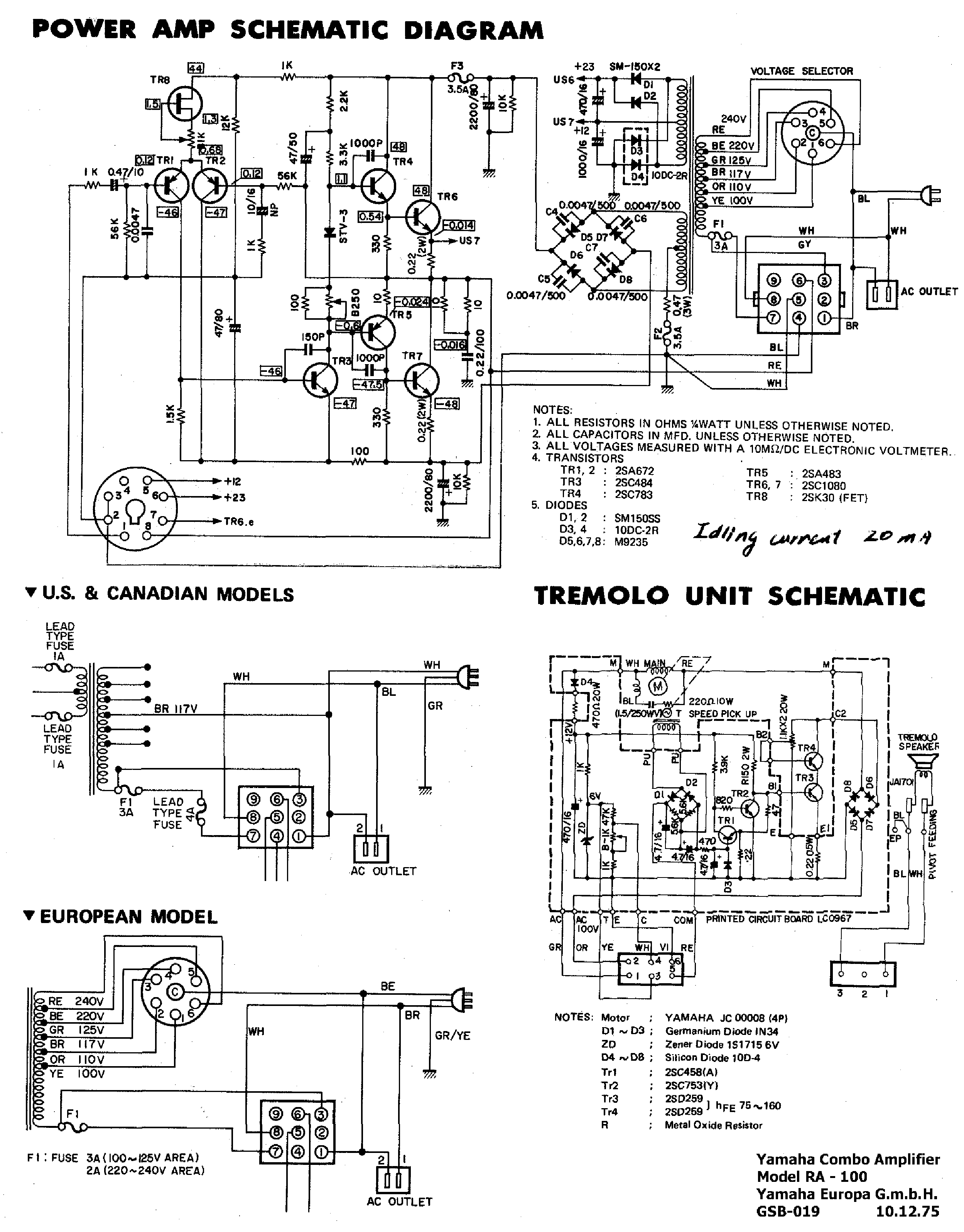 YAMAHA RA100 Service Manual download, schematics, eeprom