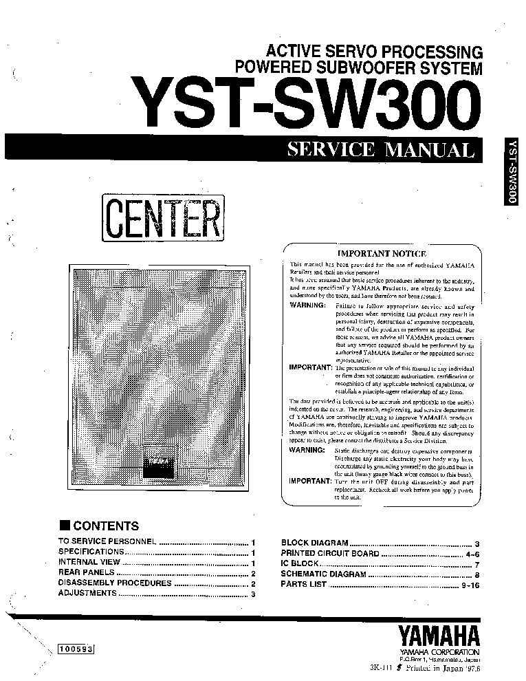 YAMAHA YST-SW300 SM Service Manual download, schematics
