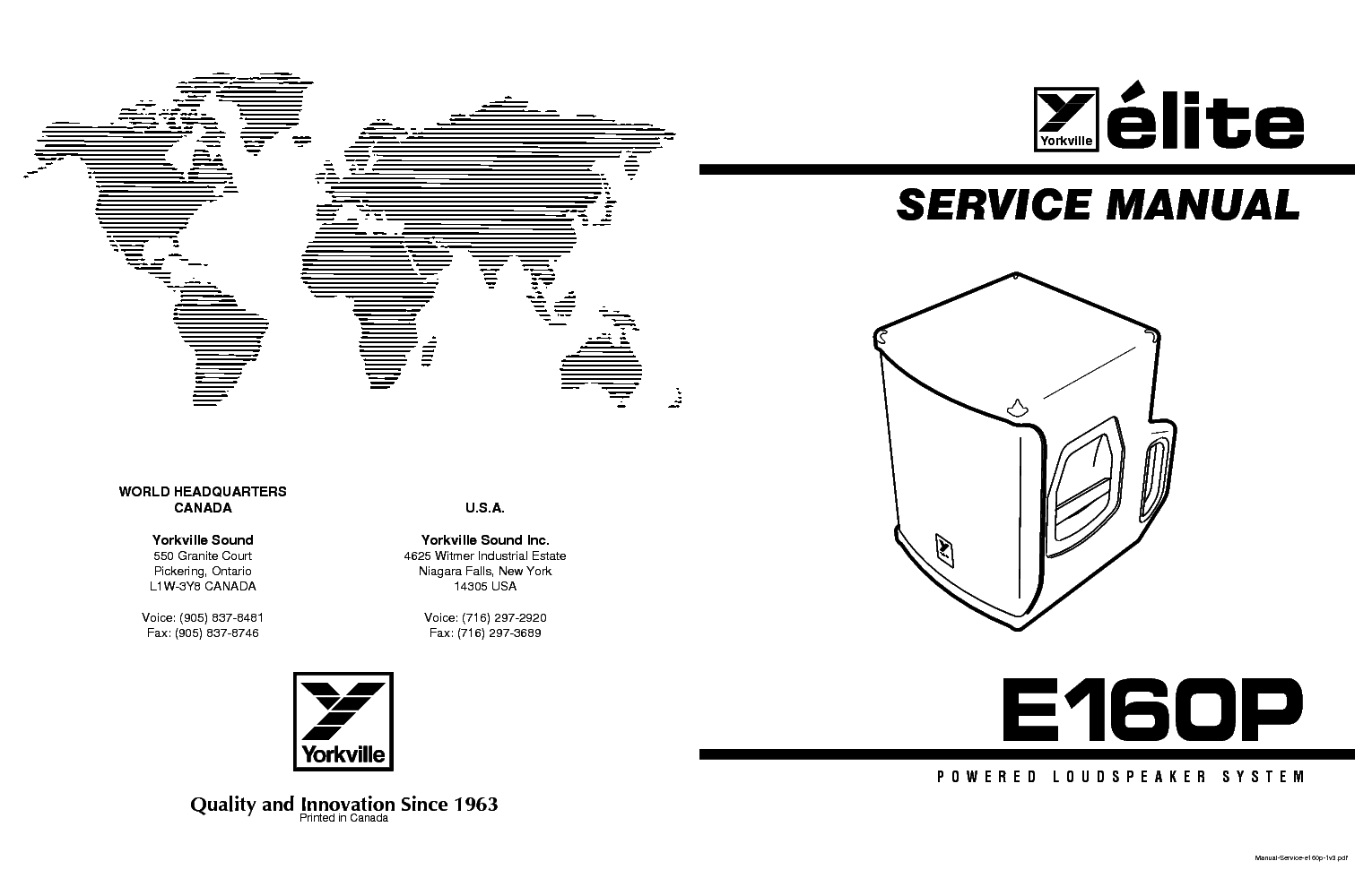 YORKVILLE E160P PARTS SCH Service Manual download