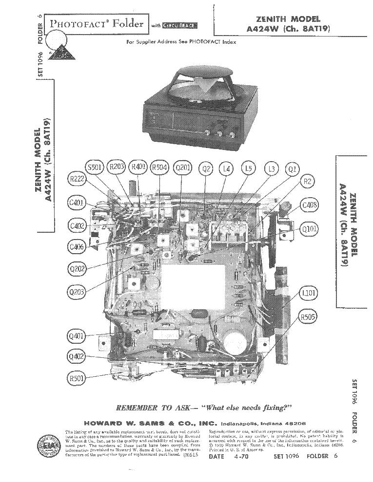 ZENITH X514 V W CH.-5X06 519 F G R W CH.-5X07 RADIO SCH