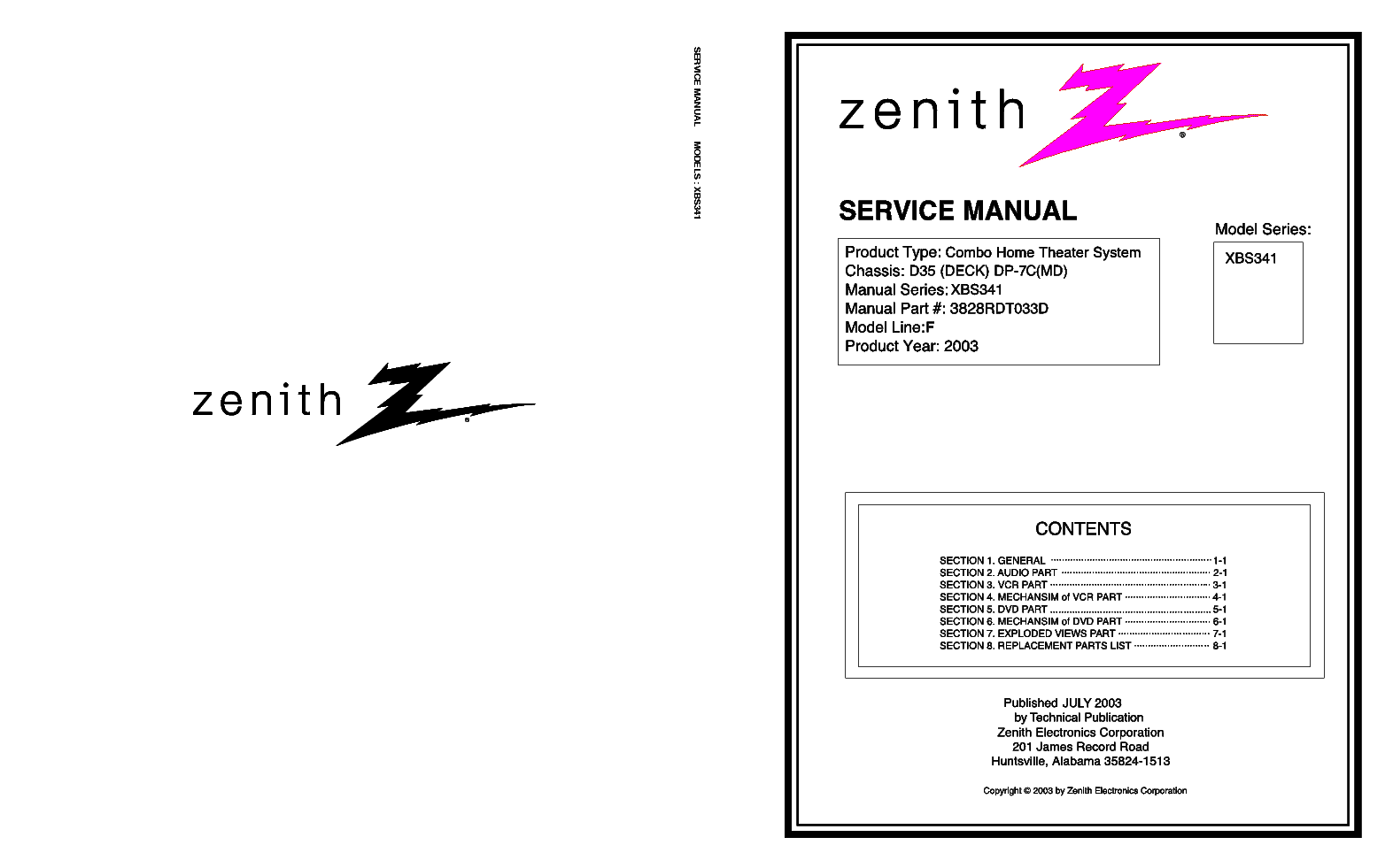 ZENITH XBS444 Service Manual download, schematics, eeprom