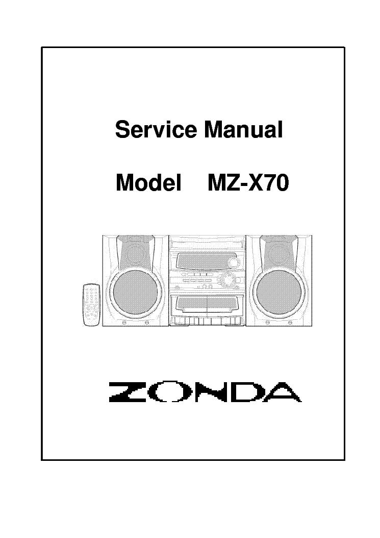 ZONDA MZ-X50 Service Manual download, schematics, eeprom