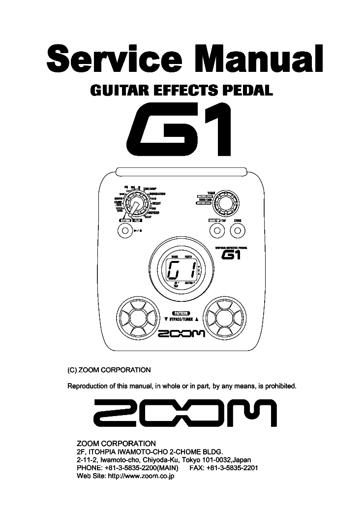 ZOOM G1 Service Manual download, schematics, eeprom
