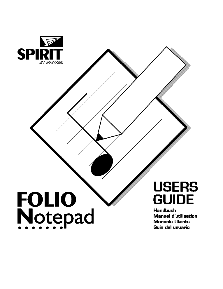 SOUNDCRAFT SPIRIT NOTEPAD USER GUIDE Service Manual