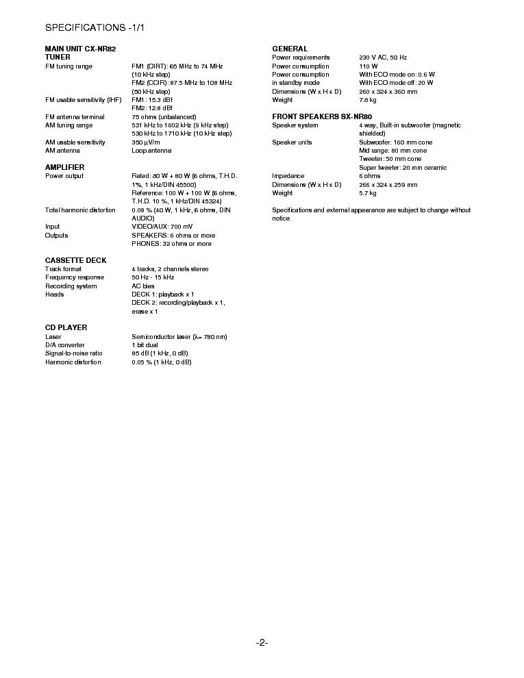 AIWA NSX-R82 INFO Service Manual download, schematics