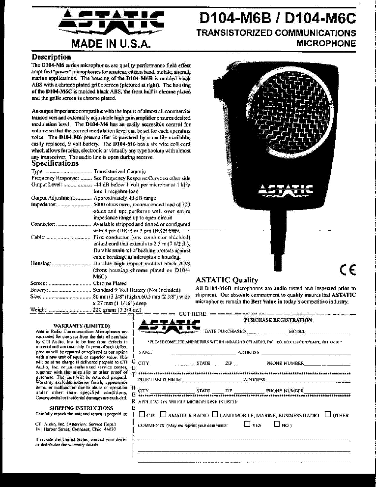 ASTATIC MICROPHONE D104M6B-MB6C INF Service Manual