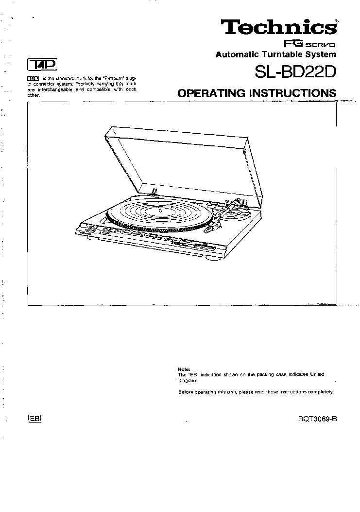TECHNICS SL-BD22D-OPERATING MANUAL Service Manual download