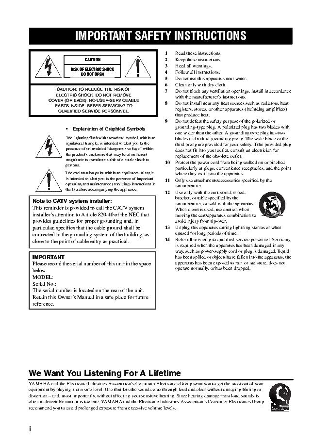YAMAHA RX-797 RECEIVER USER MANUAL Service Manual download