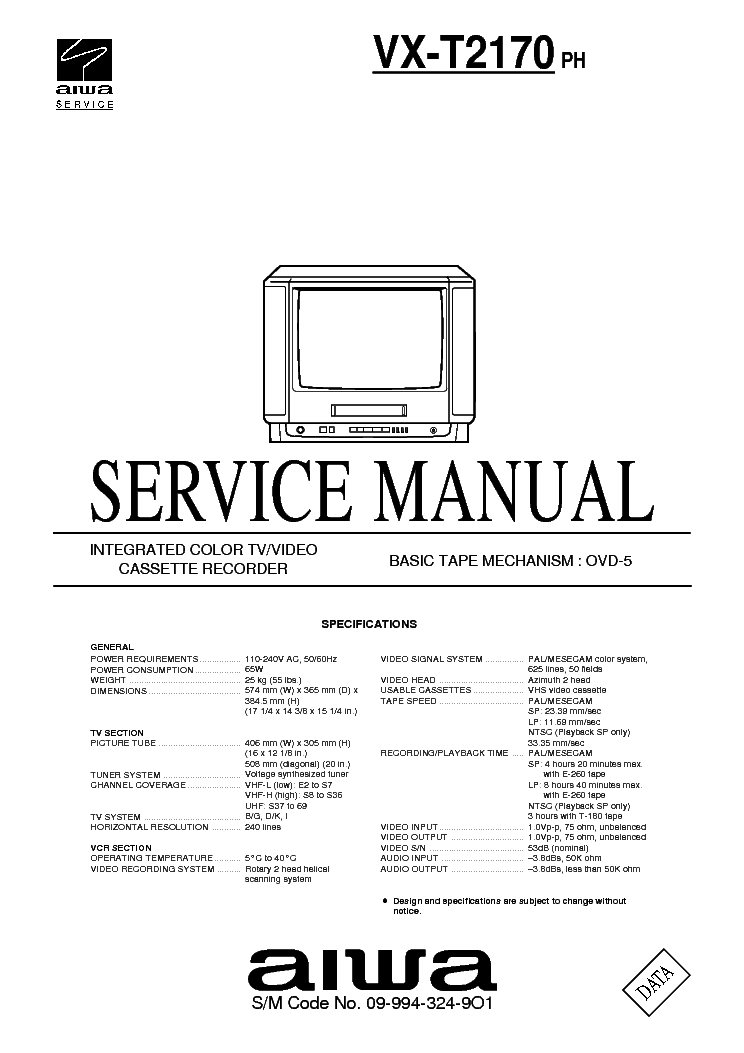 AIWA CX-VR5 SM Service Manual download, schematics, eeprom