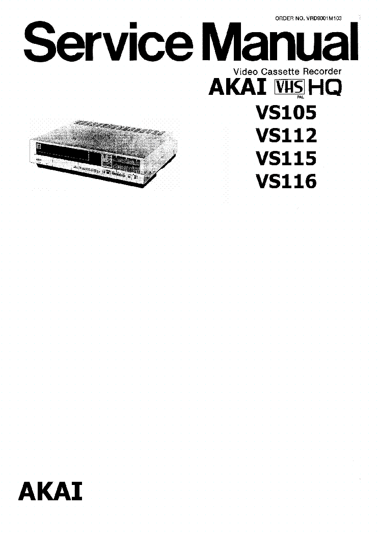 AKAI-VS105 112 115 116 Service Manual download, schematics