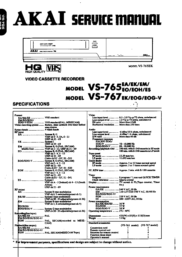 AKAI VS-765 767 SM Service Manual download, schematics