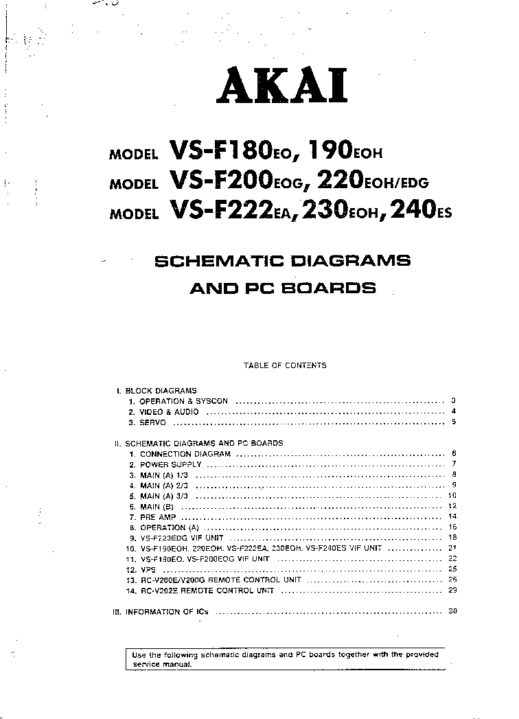 AKAI VS-F180 190 200 220 222 230 240 SCH Service Manual
