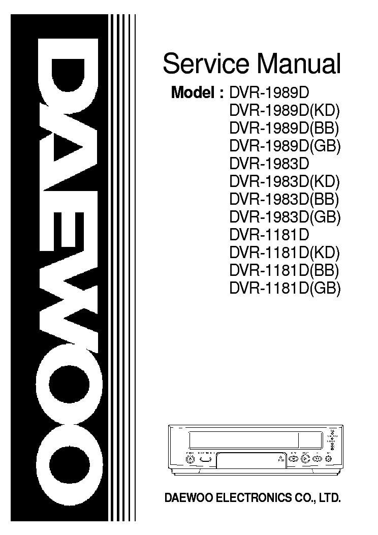 DAEWOO DVR-1989W KD 1181D KD Service Manual download
