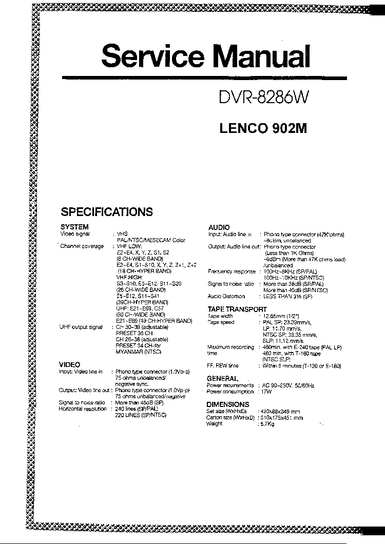 LENCO DVD-508H SCH Service Manual download, schematics