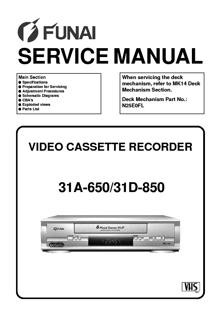 FUNAI 31A-650 31D-850 HM450 454ED Service Manual download