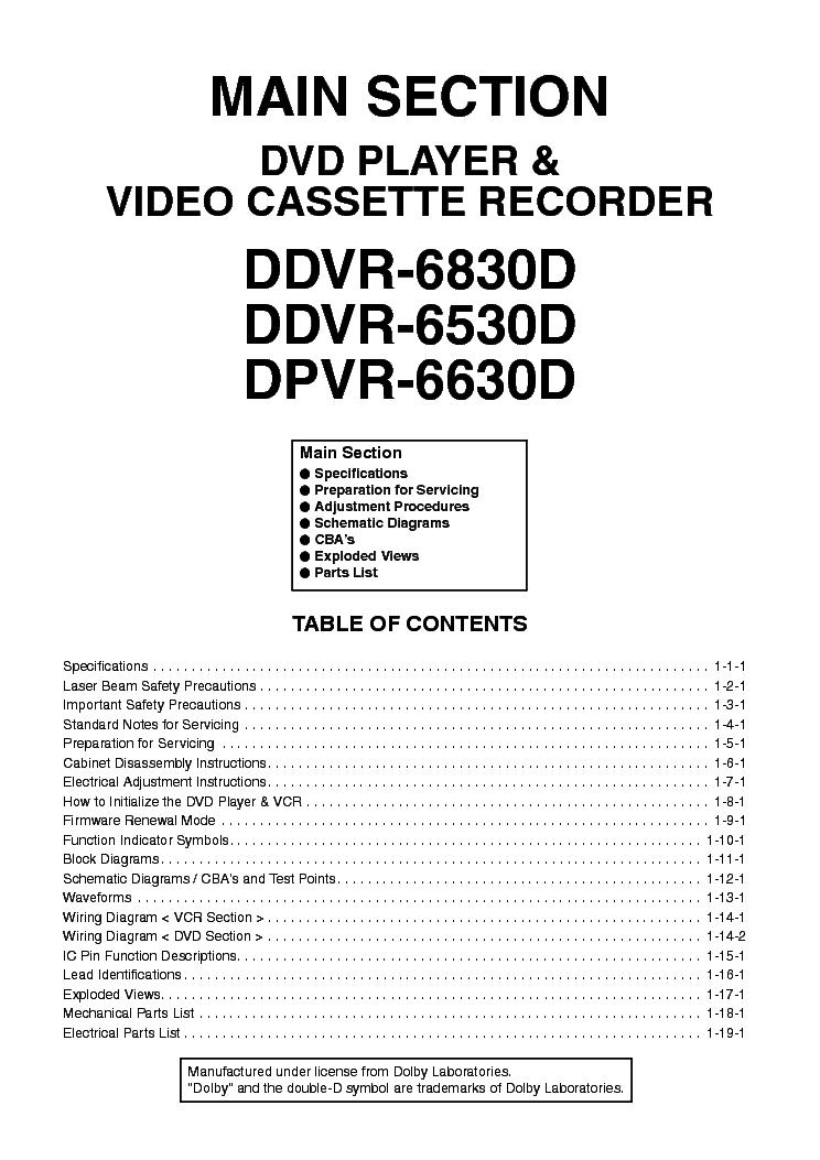 FUNAI DPVR-6630D DDVR-6830D 6530D-H99A7 8 9ED Service