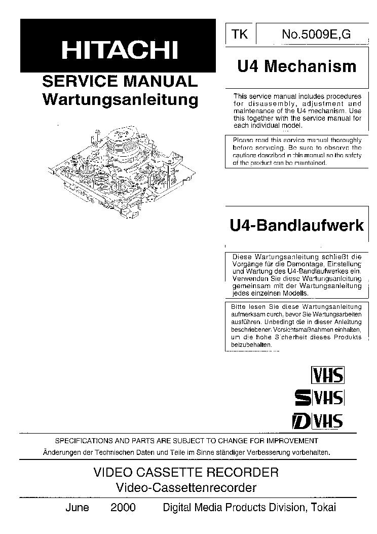 HITACHI VT-498EM VCR DE Service Manual download
