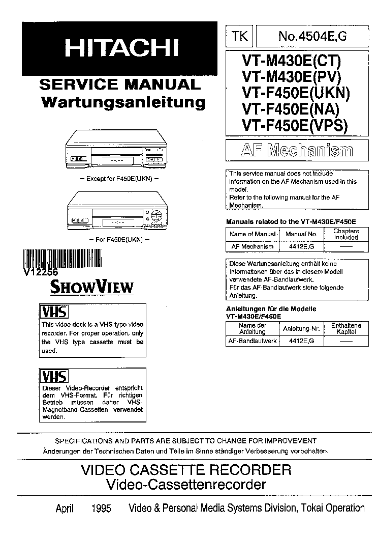 HITACHI VT-F450E VT-M430E NO.4504E-G Service Manual