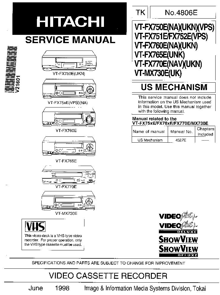 HITACHI VT-FX750E FX751E FX760E FX765E FX770E MX730E SM 1