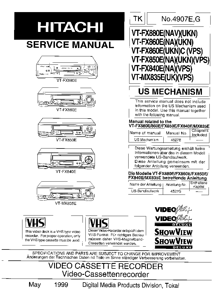 HITACHI VT-FX880E FX860E FX850E FX840E MX835E Service