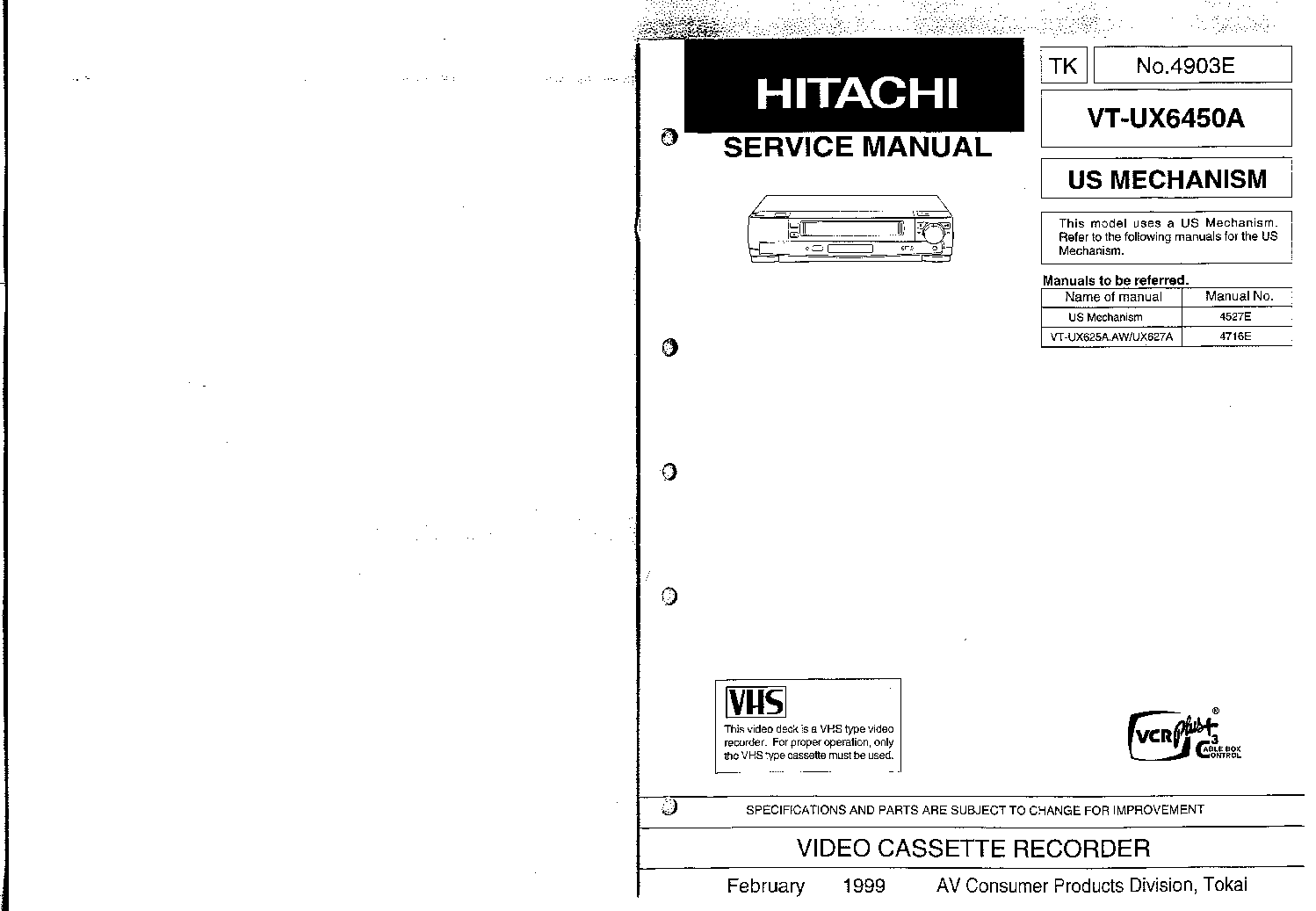 HITACHI VT-F150E SERIES NO.3705E Service Manual download