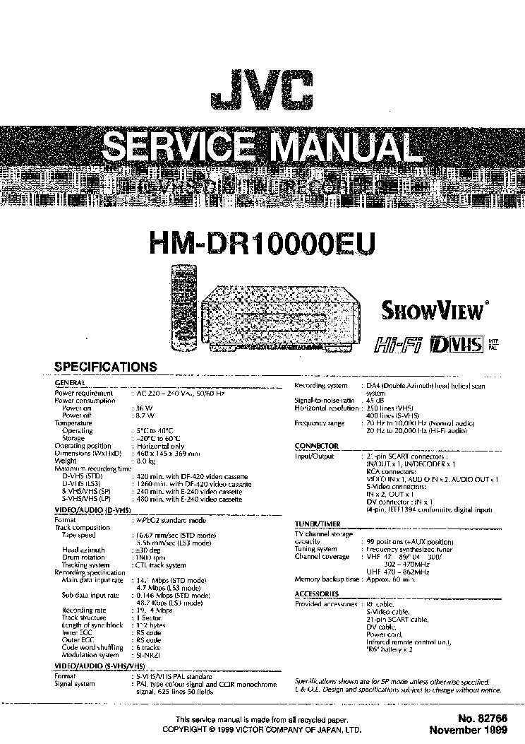 JVC HM DR10000EU Service Manual download, schematics