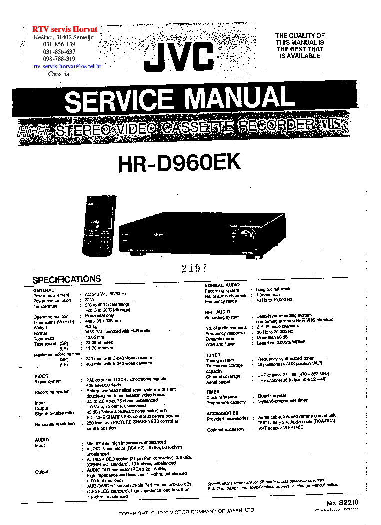 JVC HR-D960EK VCR SM Service Manual download, schematics
