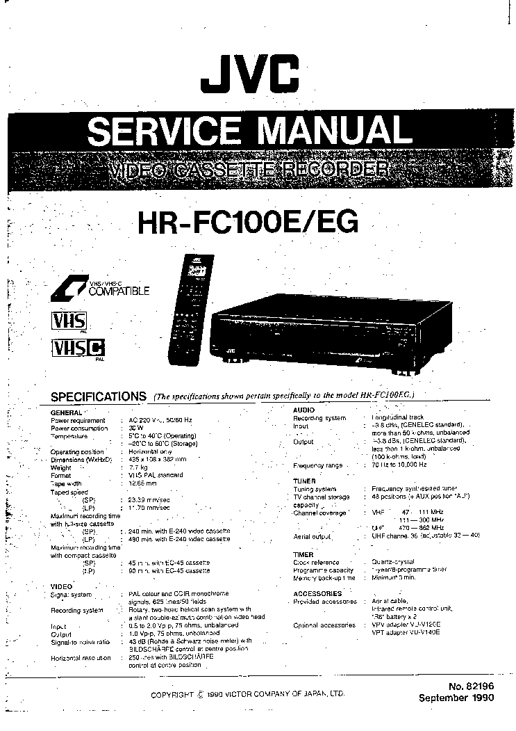 JVC HR-FC100E-EG SM Service Manual download, schematics